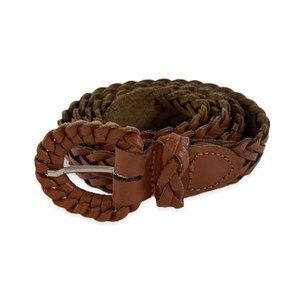 Vintage Soft Braided Brown Leather Belt